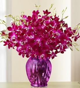Orchid Bouquet with Purple Ginger Vase